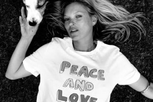 Kate Moss models a Teemill T-shirt designed by Bella Freud for Warchild